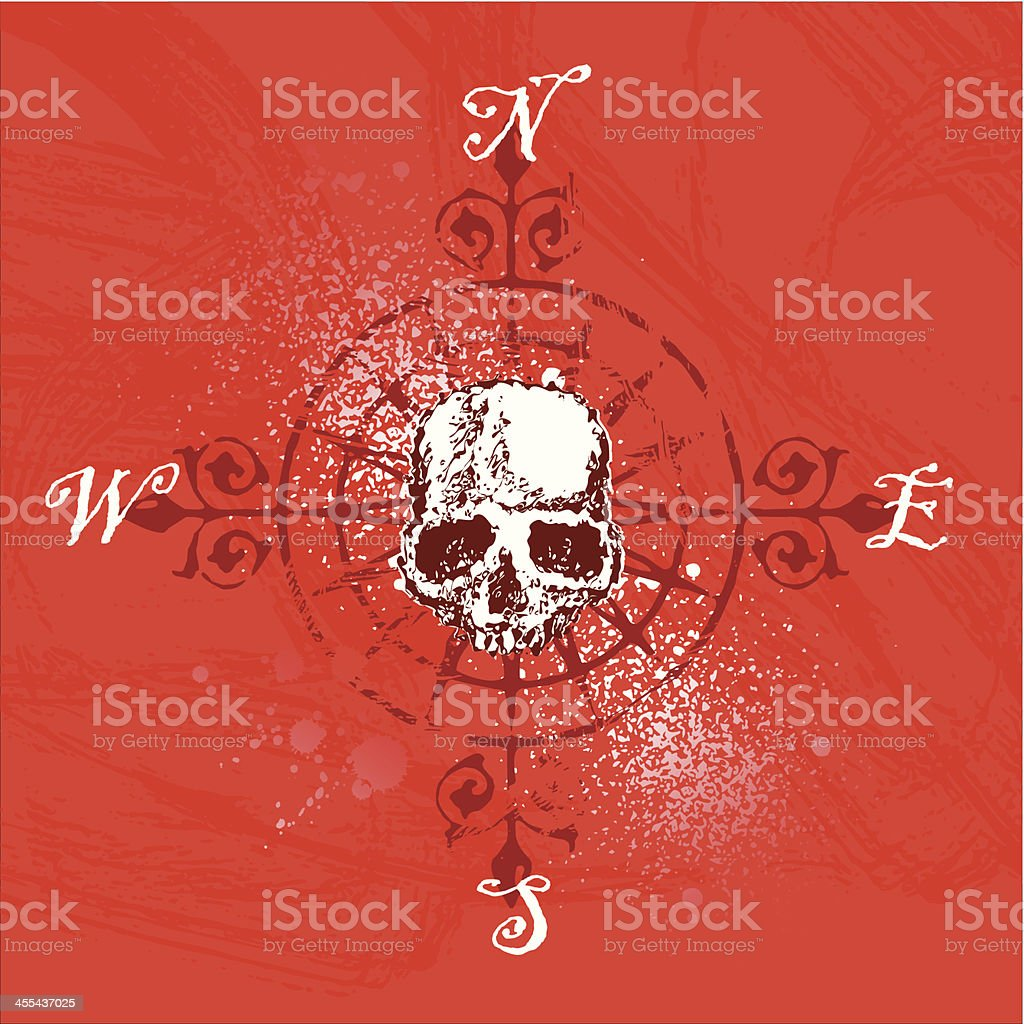 compass rose with skull vector art illustration