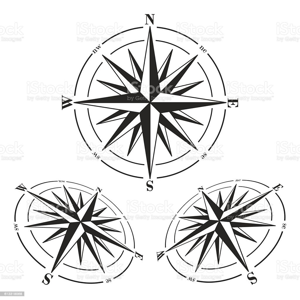 Compass roses set isolated on white. vector art illustration