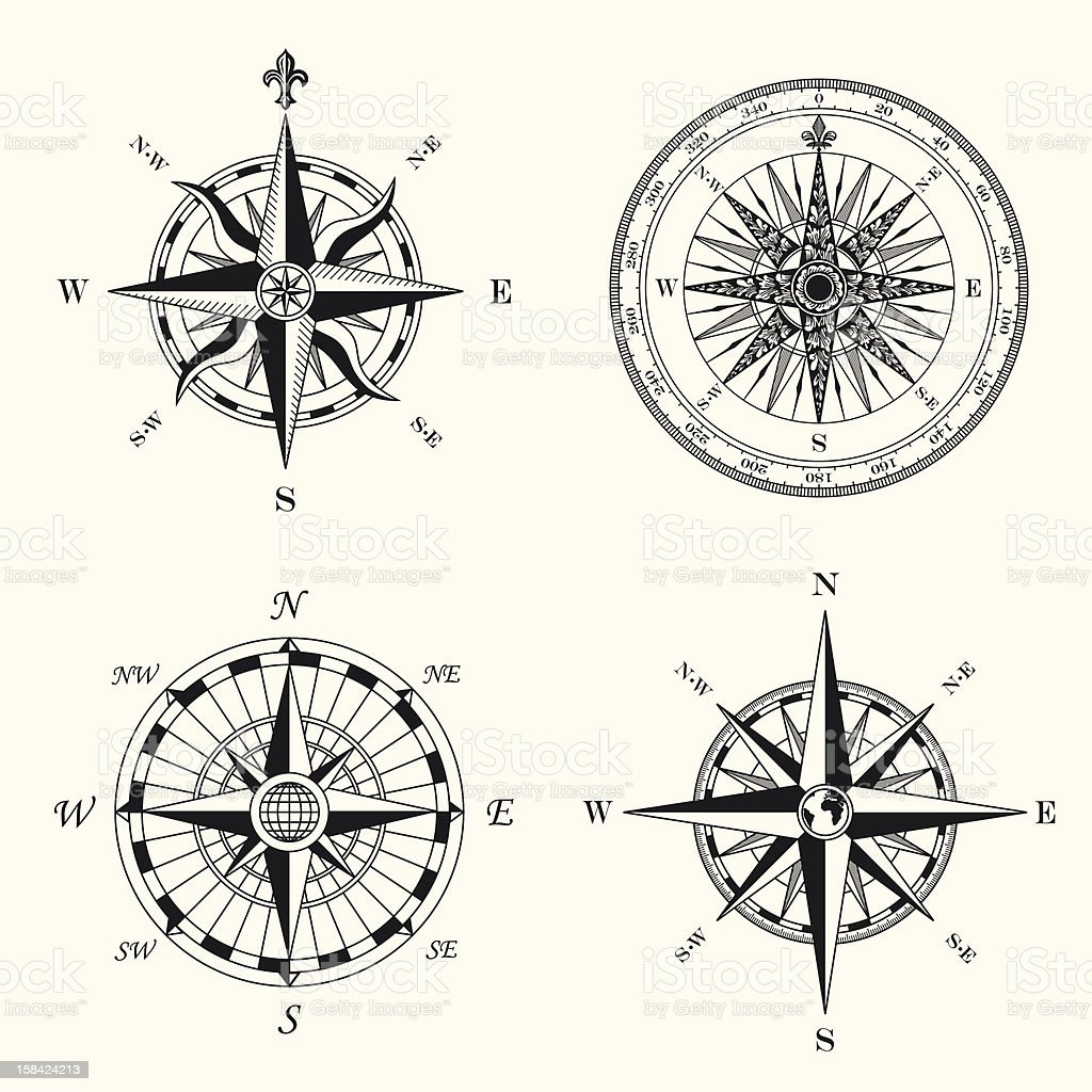 Compass Roses vector art illustration