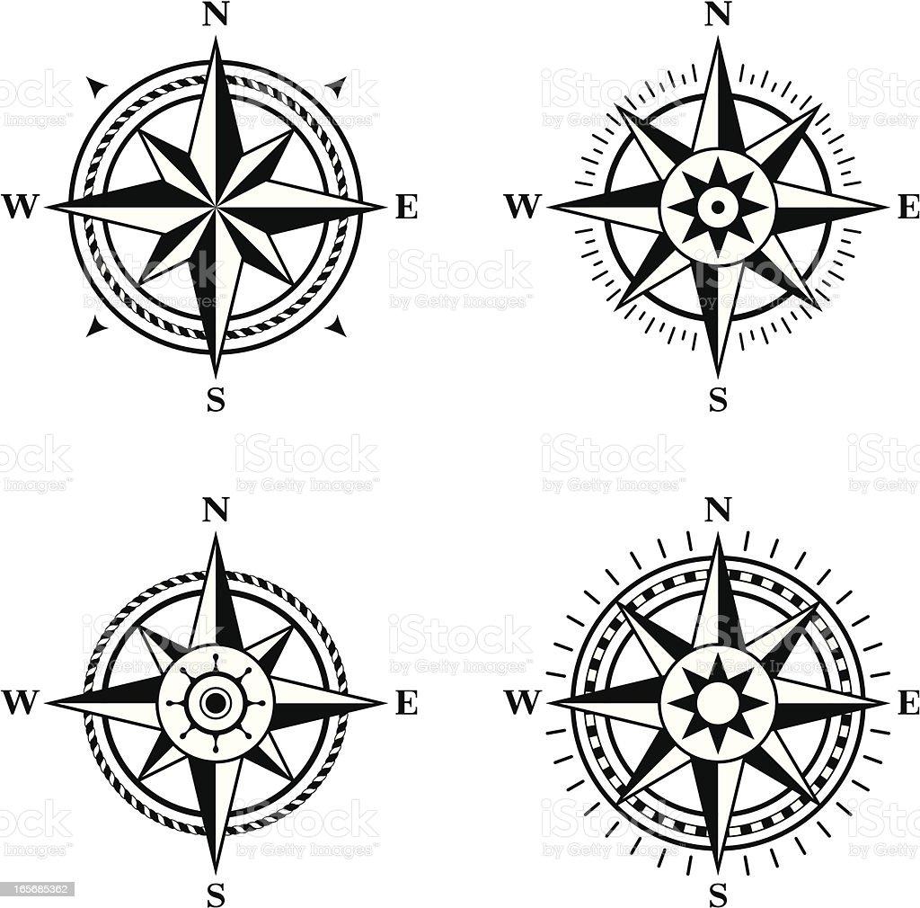 Compass roses vector art illustration