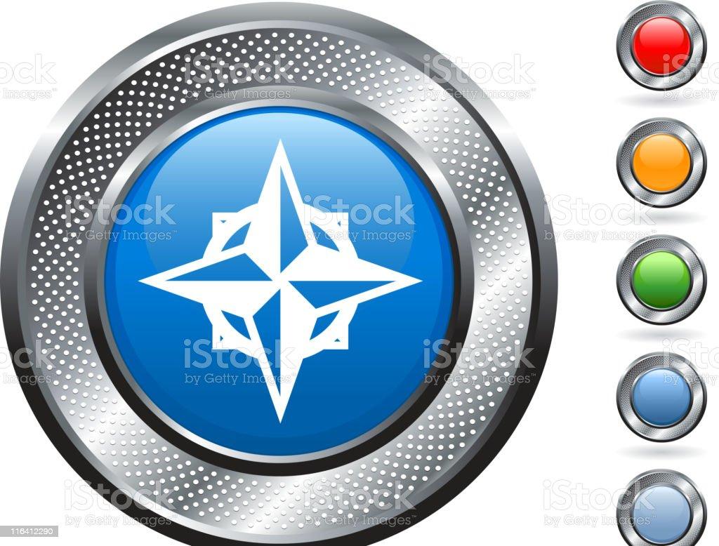 compass royalty free vector art on metallic button royalty-free stock vector art