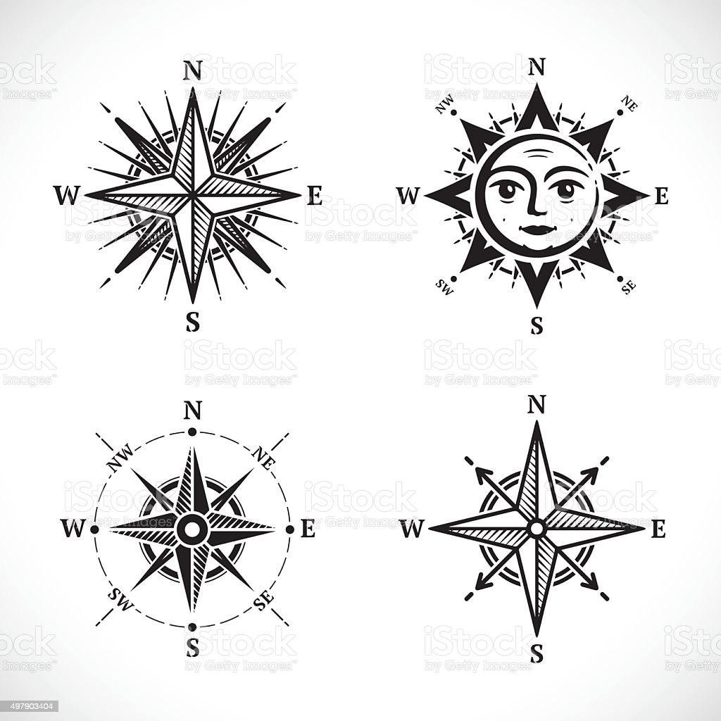 Compass set vector art illustration