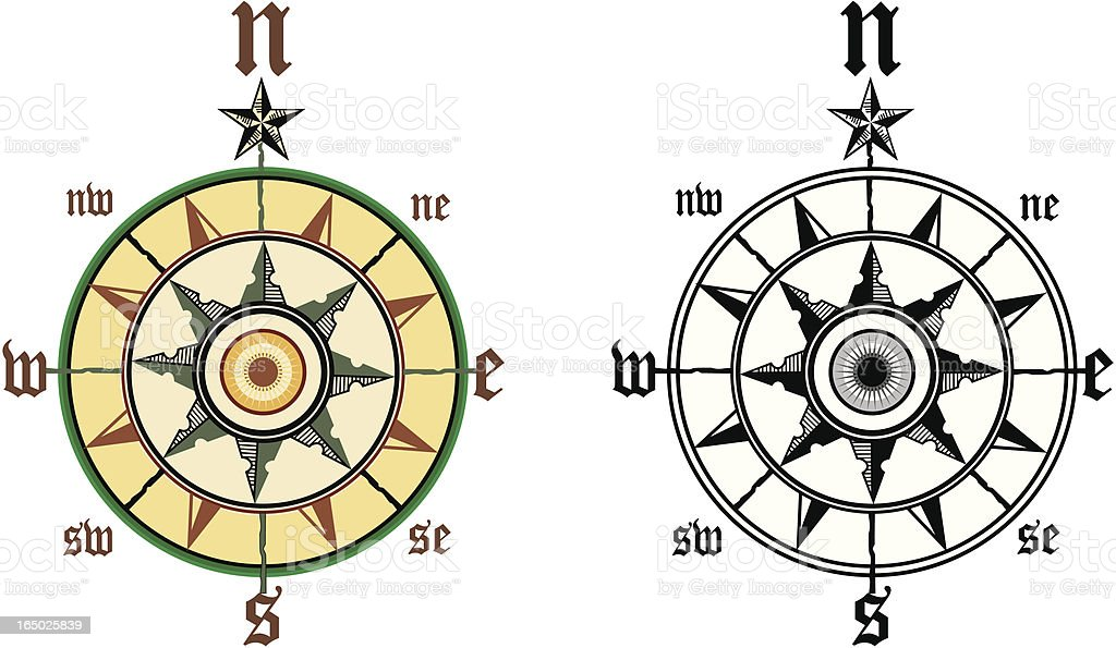 compass wind rose 3 vector art illustration