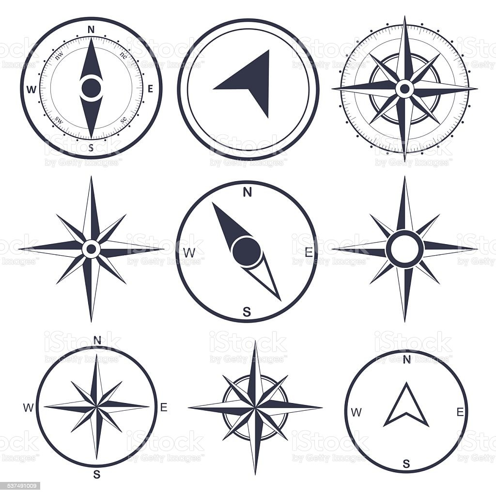Compass wind rose  vector design element vector art illustration