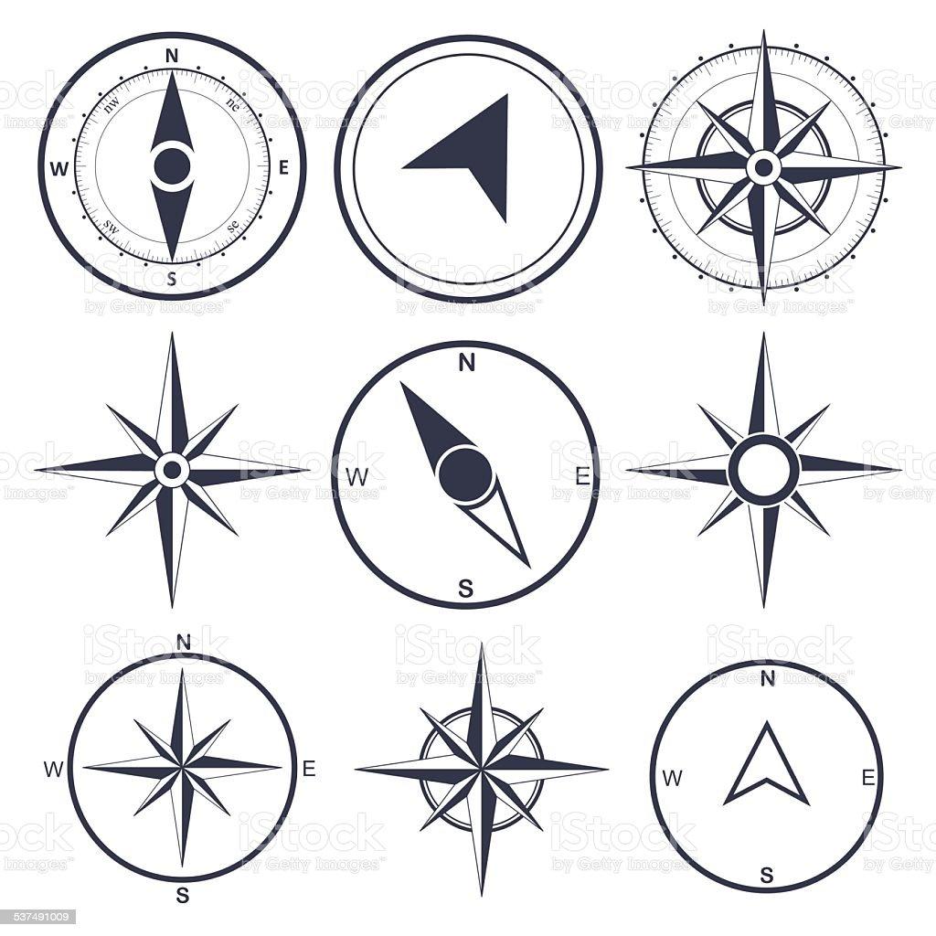 Compass wind rose  vector design element vector art illustration