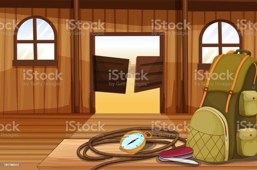 compass with a rope near the bag vector art illustration
