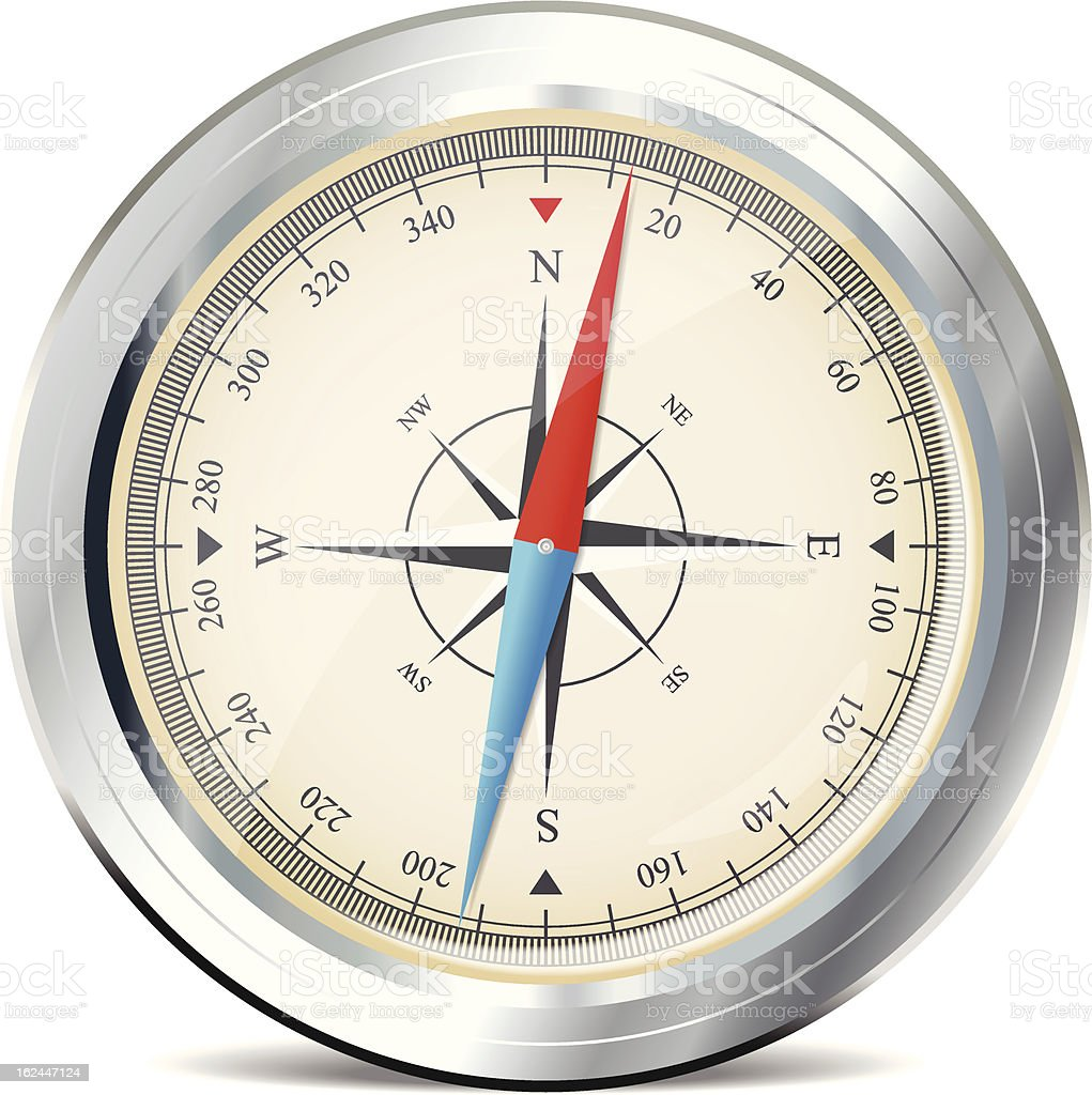 Compass with windrose royalty-free stock vector art