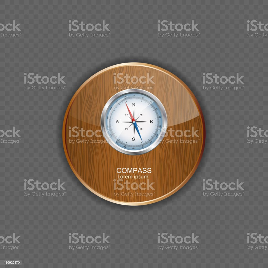 Compass wood application icons royalty-free stock vector art