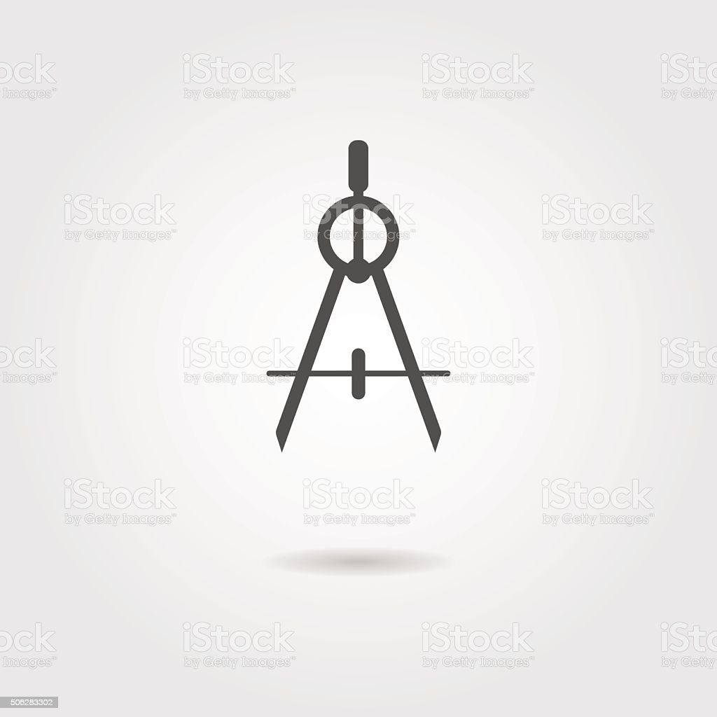 compasses icon with shadow vector art illustration