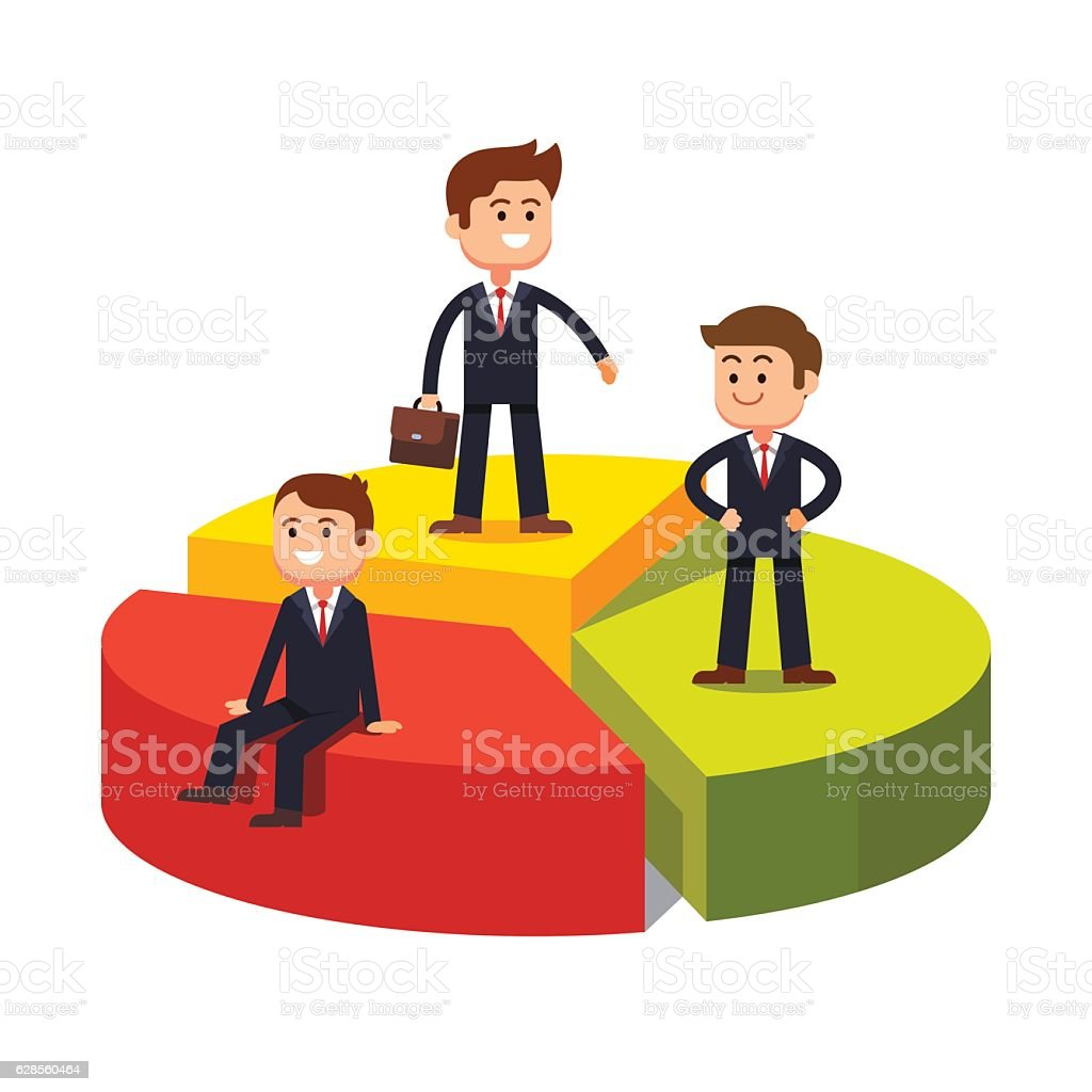Competing business sectors concept vector art illustration