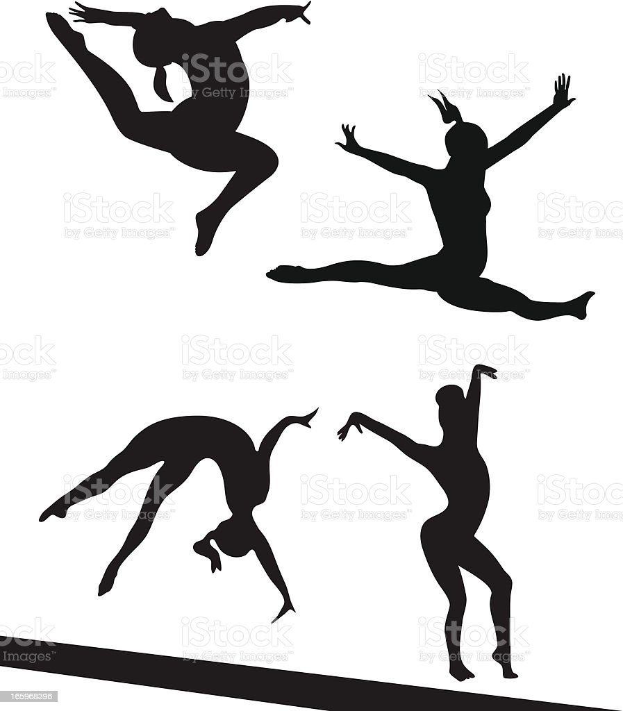 Competing Gymnasts vector art illustration