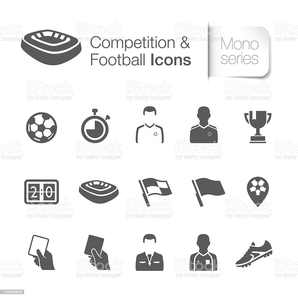 Competition & football related icons vector art illustration