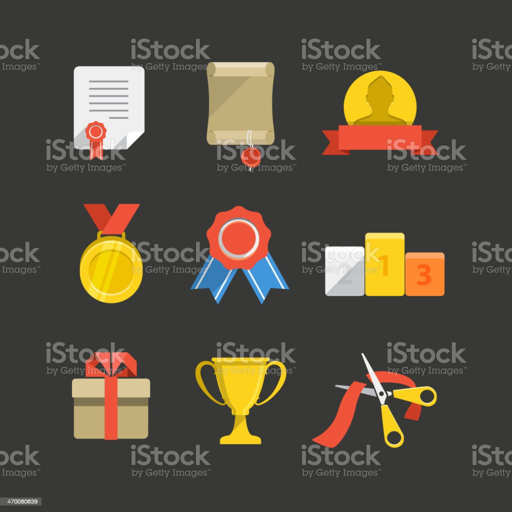 Competition prizes color flat icon set vector art illustration