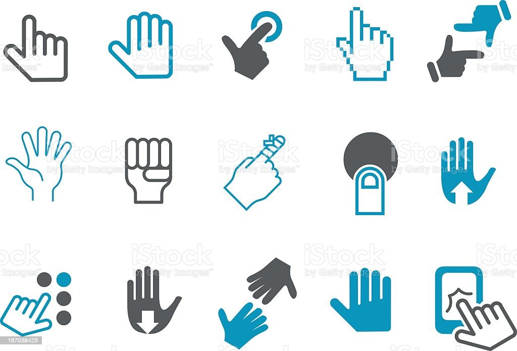 Compilation of cursor hand icons royalty-free stock vector art