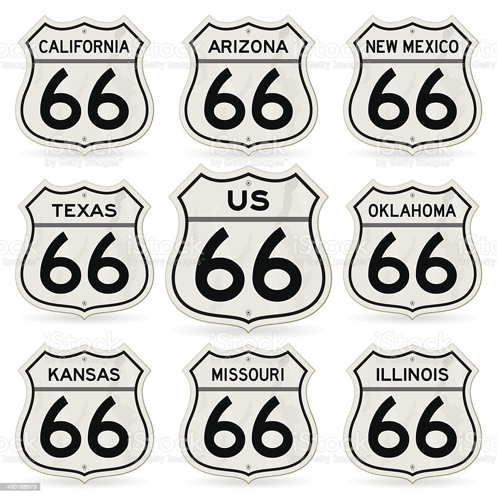 Complete Route 66 Signs Collection vector art illustration