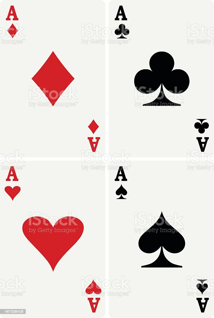 A complete set of all four aces from a card pack vector art illustration