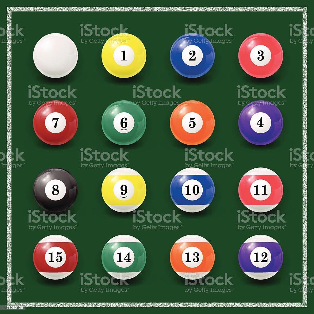 Complete set of billiard balls on a green background vector art illustration