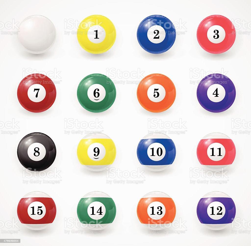 Complete set of billiard balls on a white background vector art illustration
