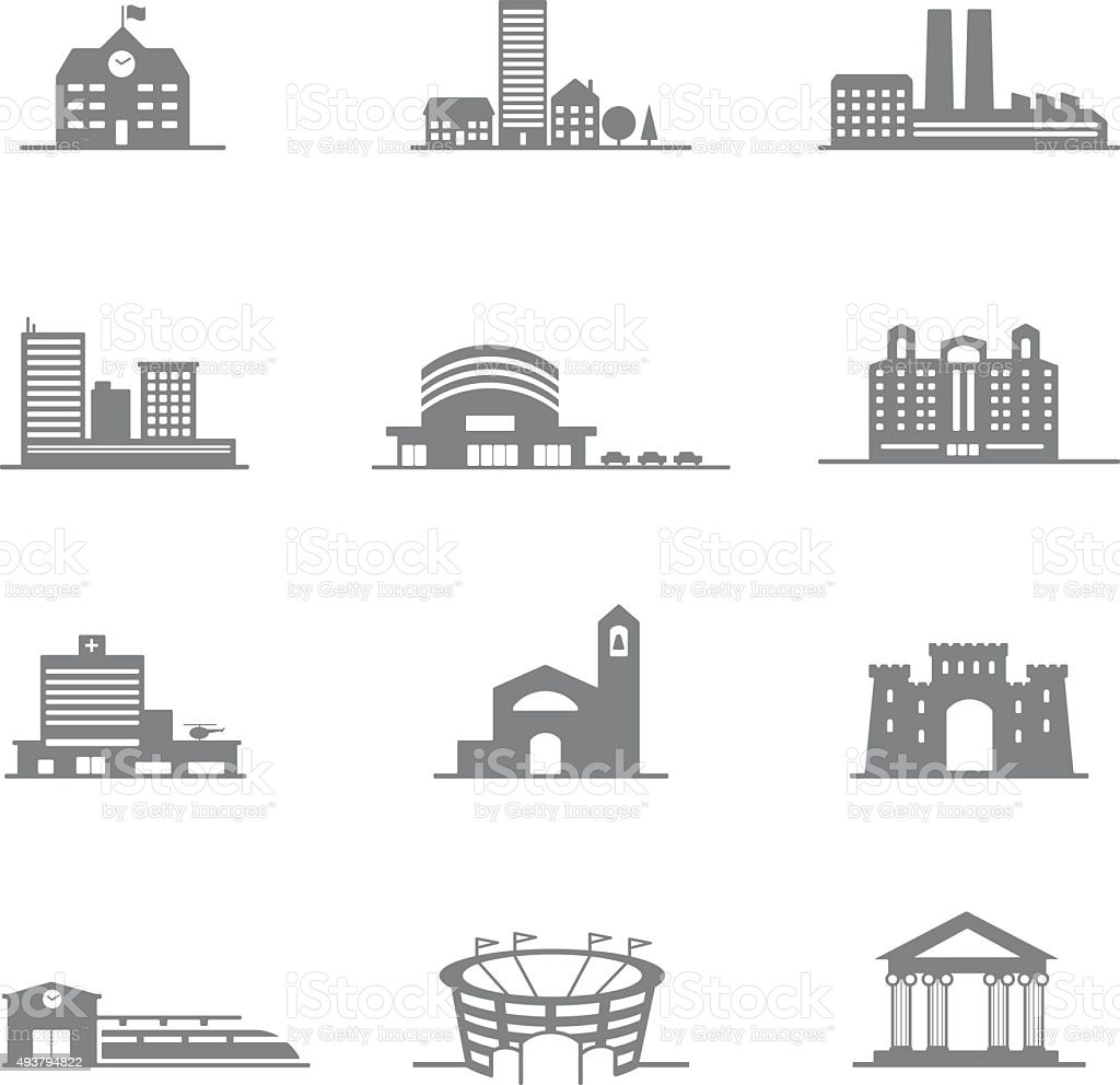 complete set of vector icons city buildings vector art illustration