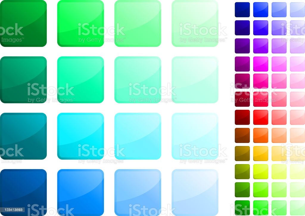 Complete square button sticker set vector art illustration