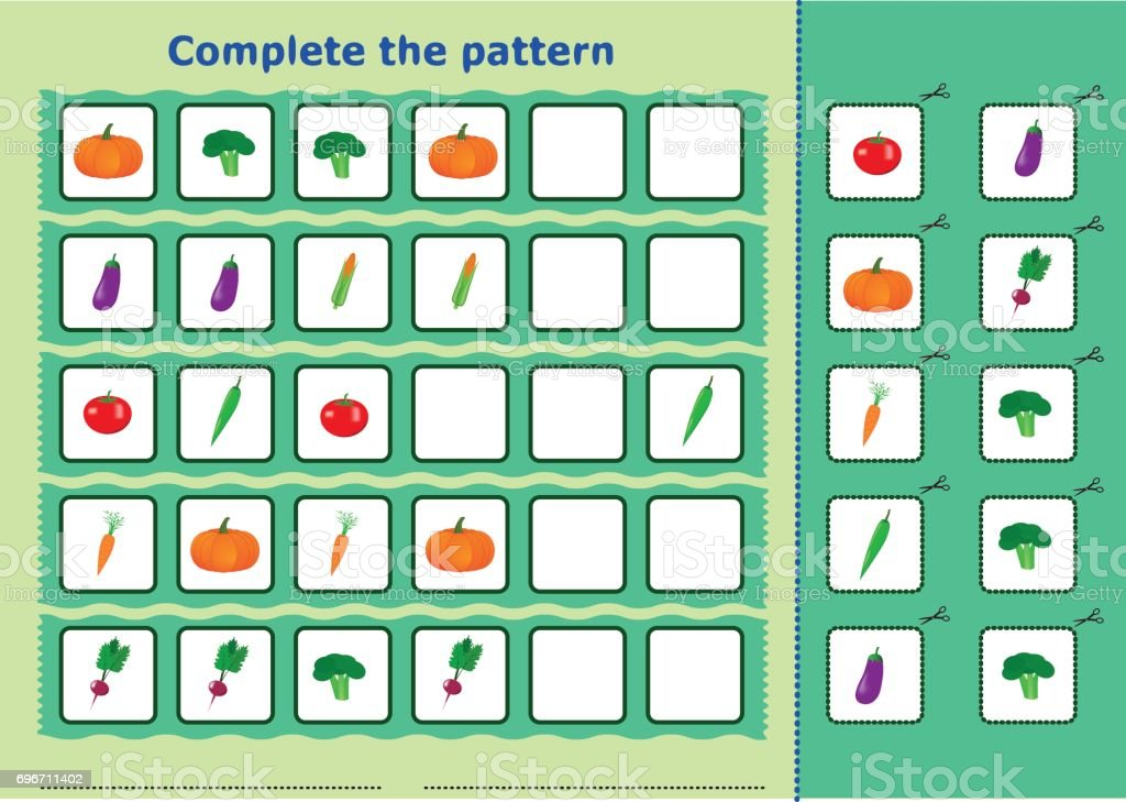 Complete the pattern, Worksheet for kids vector art illustration