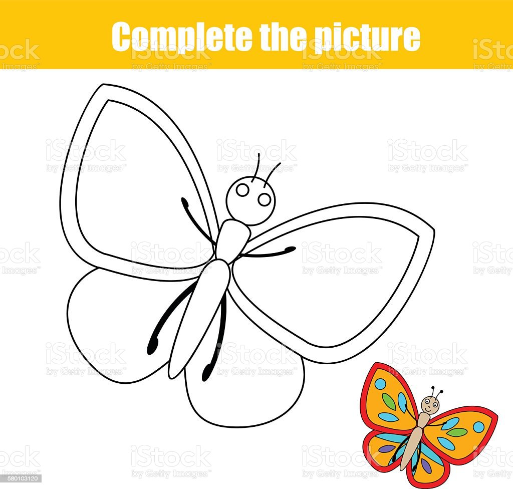 Childrens educational coloring activity book - Activity Coloring Moving Activity Book Butterfly Insect Complete The Picture Children Educational