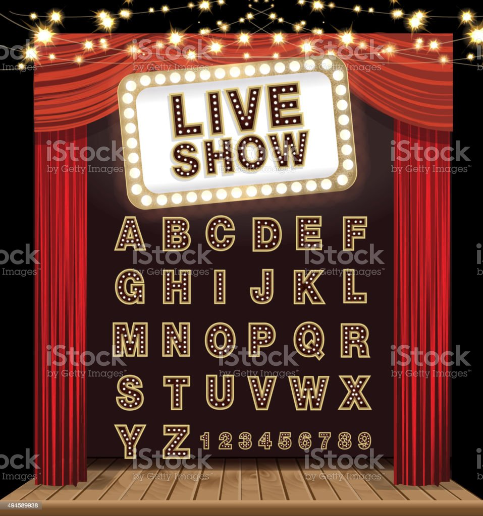 Complete theatre alphabet set with curtain, stage and lit signboard vector art illustration