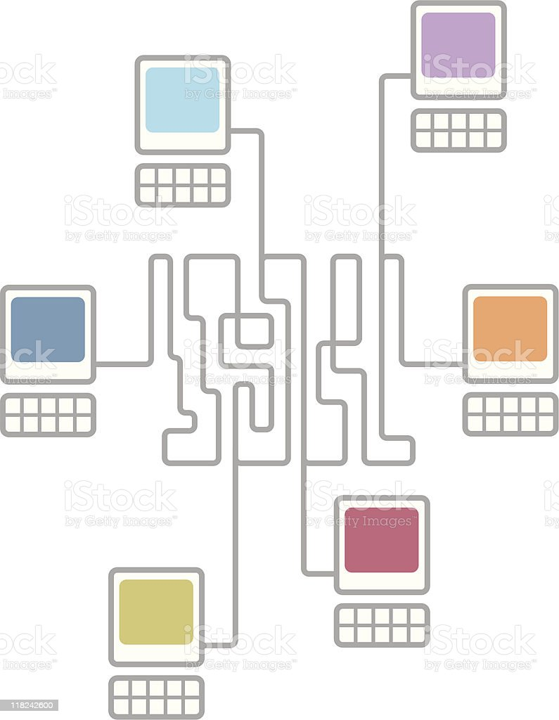 Complex computer network connecting diagram royalty-free stock vector art