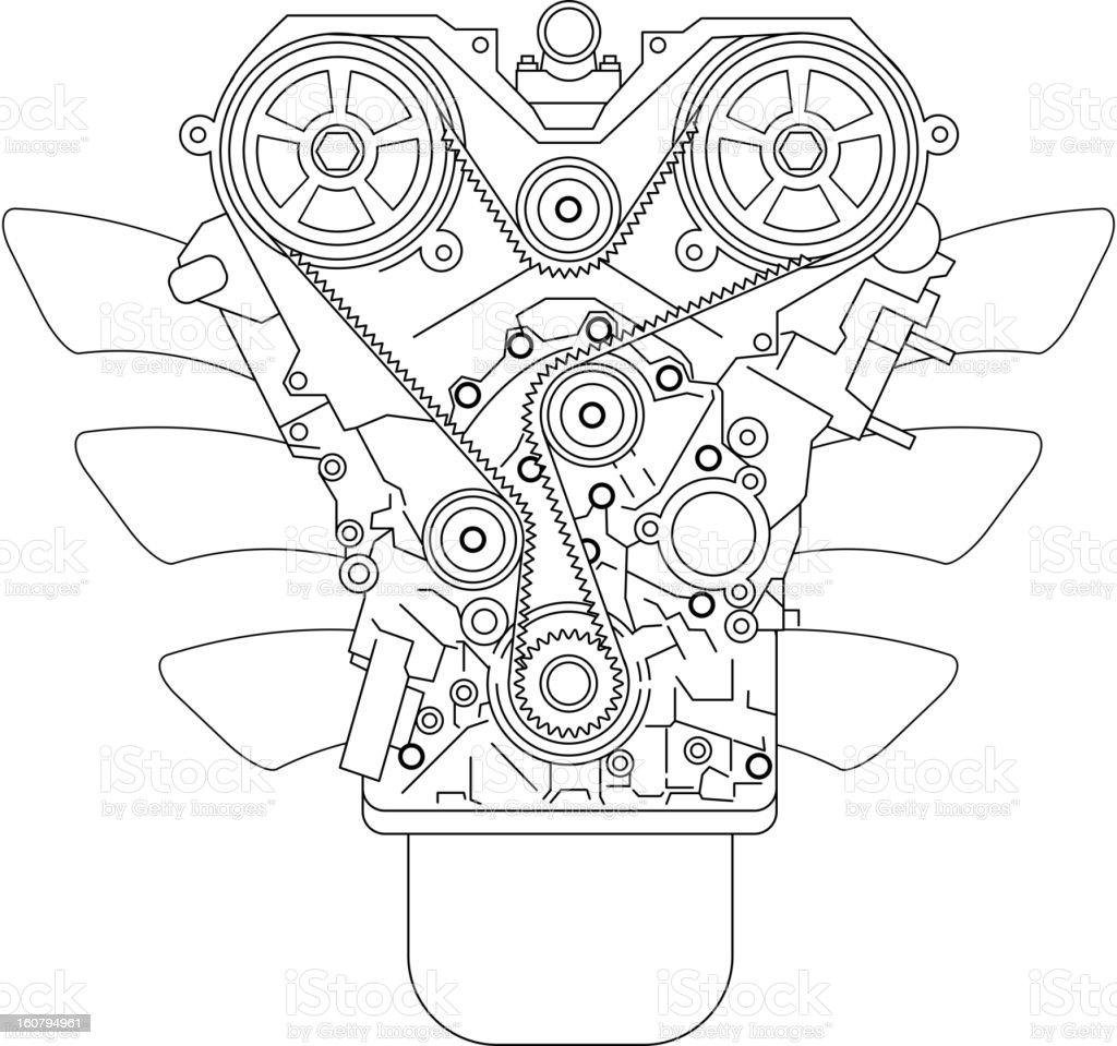A complex internal combustion engine vector art illustration