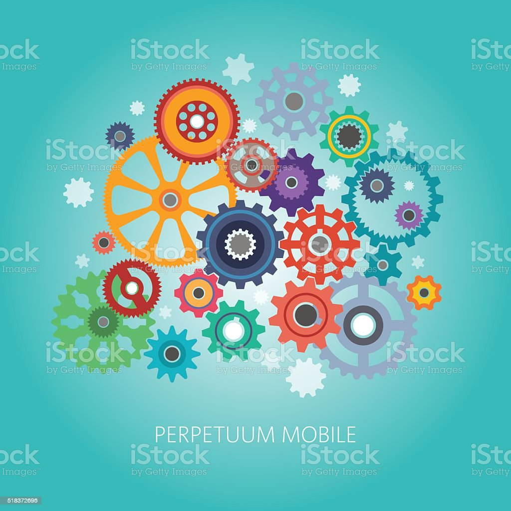 complex mechanism vector art illustration