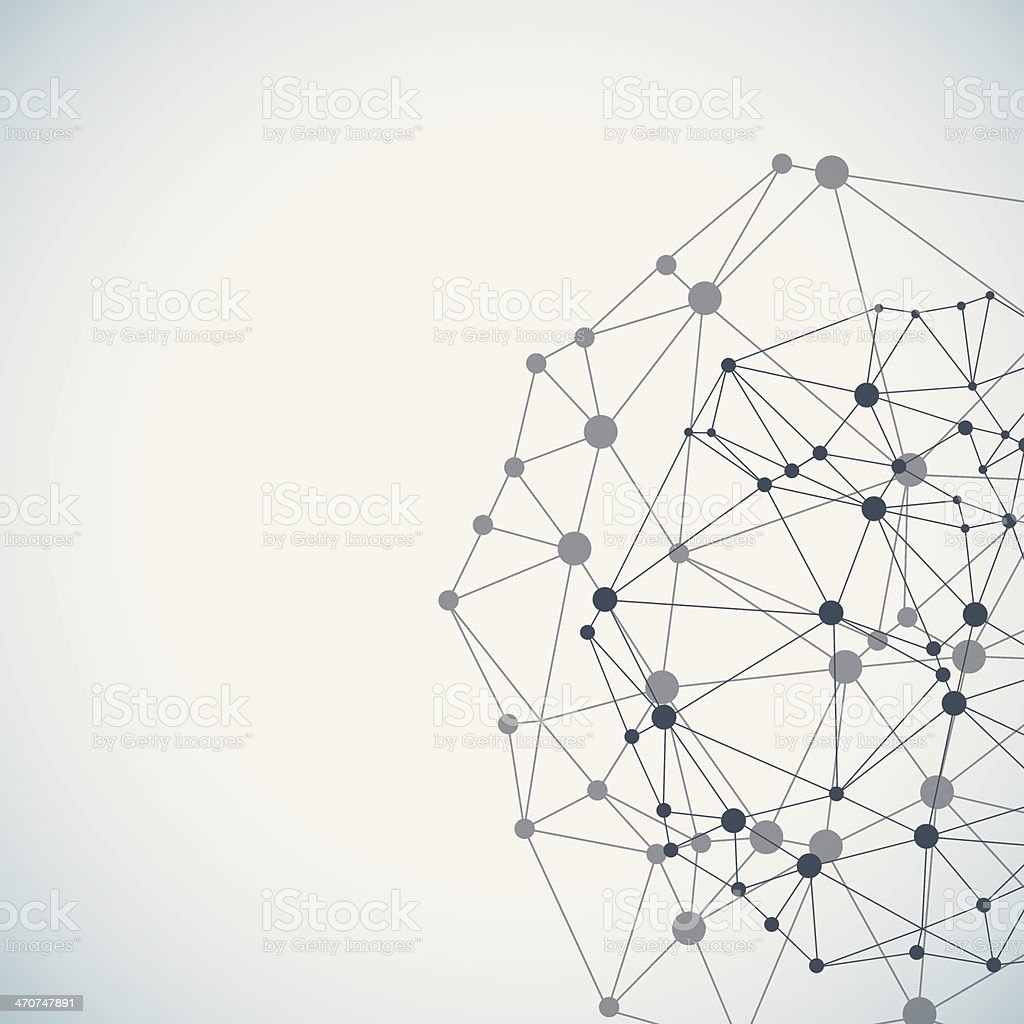 Complex network background vector art illustration