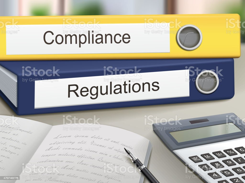 compliance and regulations binders vector art illustration