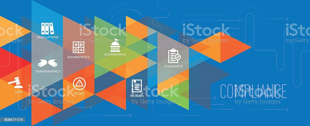 Compliance banner and icon set royalty-free stock vector art