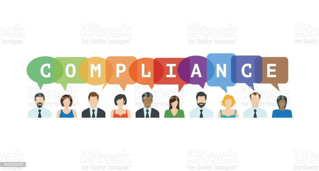 Compliance Concept. People icons with speech bubbles vector art illustration
