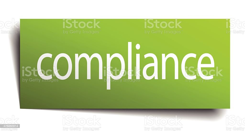 compliance green paper sign on white background vector art illustration