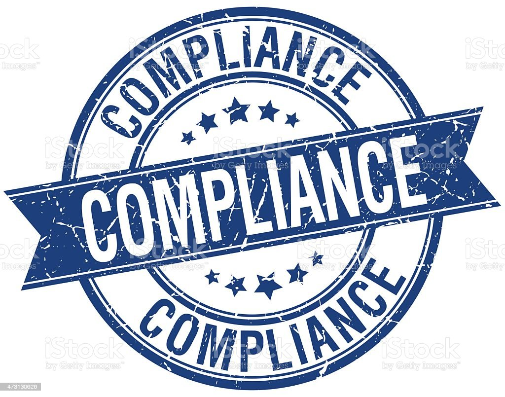 compliance grunge retro blue isolated ribbon stamp vector art illustration