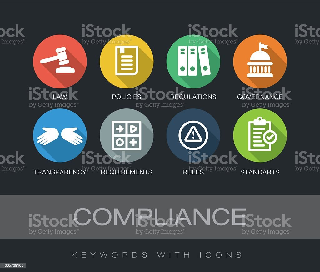 Compliance keywords with icons vector art illustration
