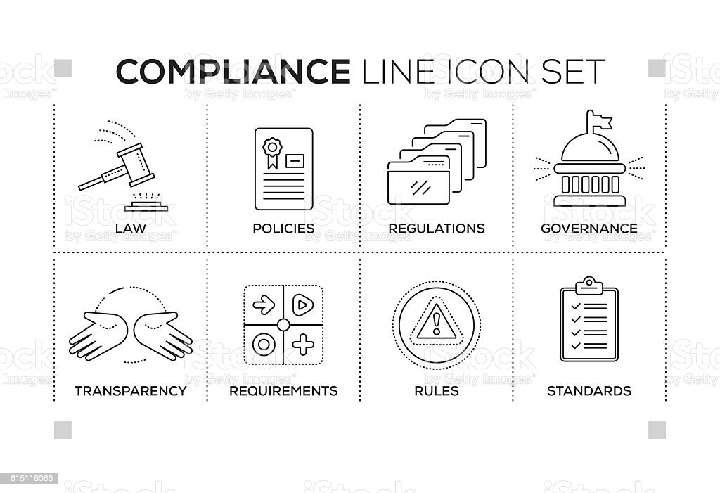 Compliance keywords with monochrome line icons vector art illustration