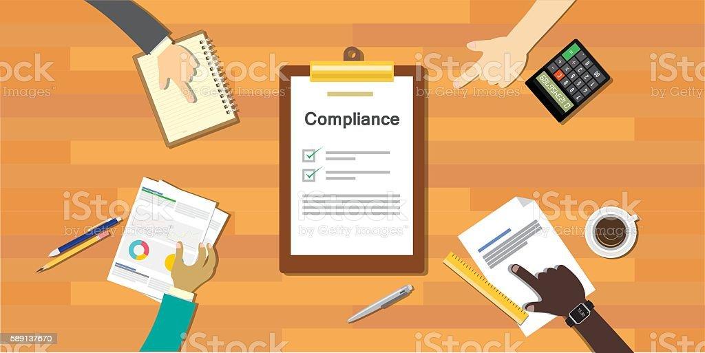 compliance to regulation process standard industry company vector art illustration