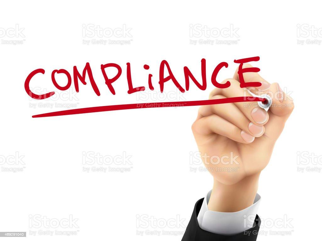 compliance written by 3d hand vector art illustration
