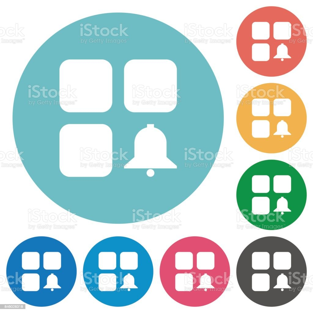 Component alert flat round icons vector art illustration