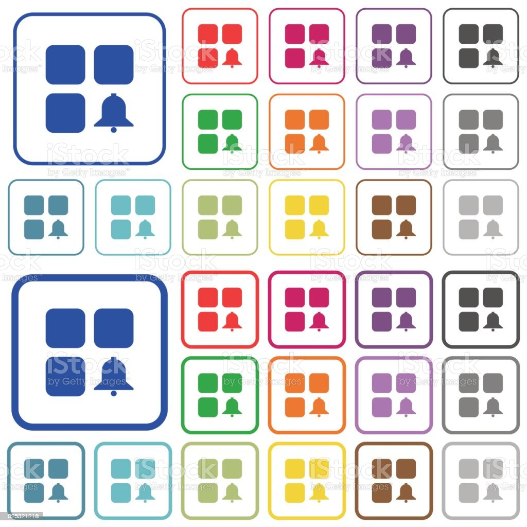 Component alert outlined flat color icons vector art illustration