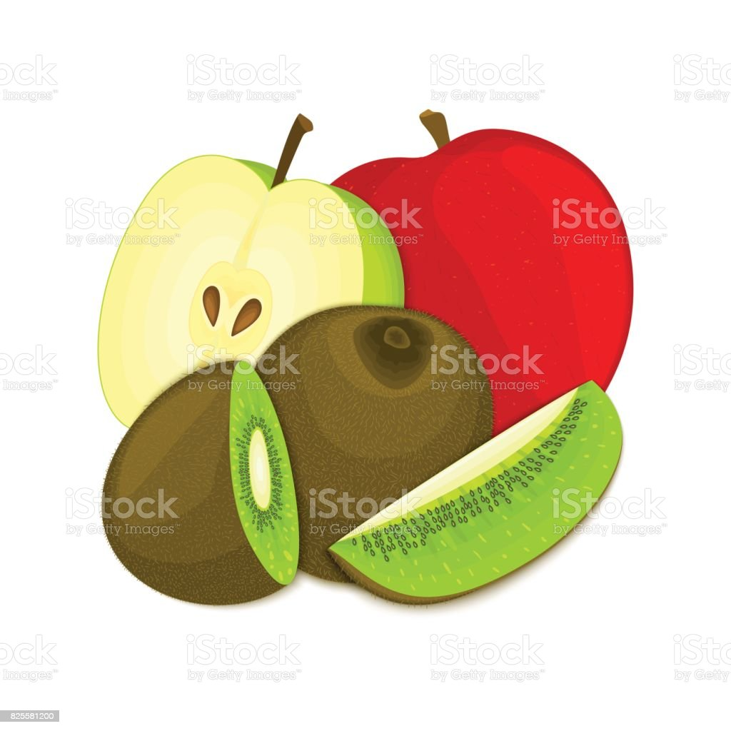 Composition of juicy apple and kiwi. Ripe vector kiwifruit  apples fruits whole  slice appetizing looking. Group  tasty  for design packaging  juice, breakfast healthy eating vegan vector art illustration
