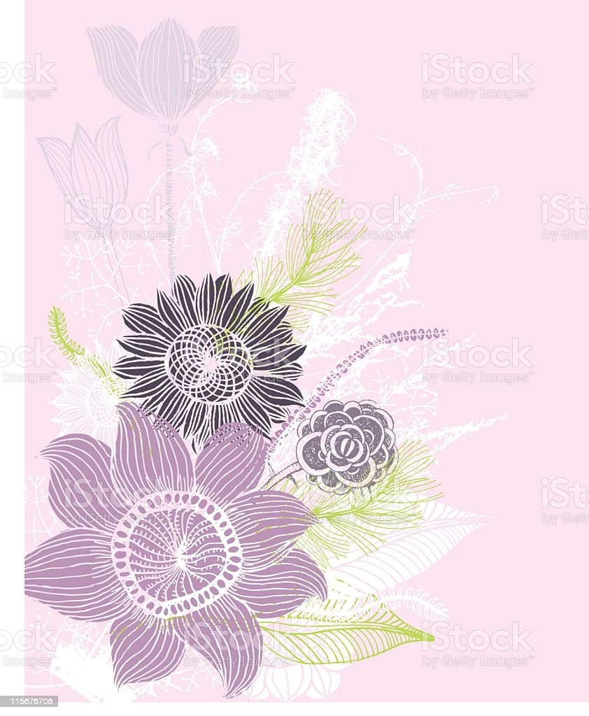Composition of mixed flowers vector art illustration