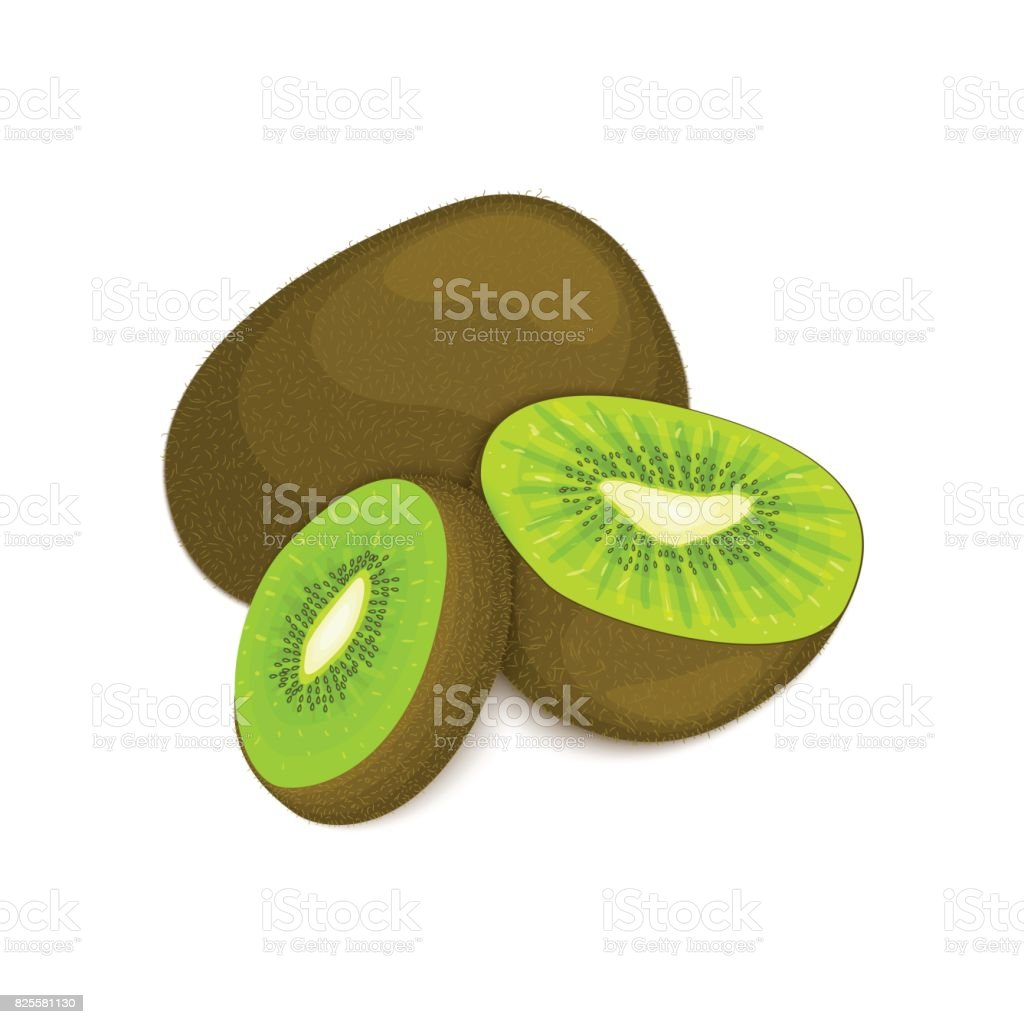 Composition of several kiwi. Ripe vector kiwifruits whole and slice appetizing looking. Group  tasty fruits colorful design for the packaging  juice breakfast, healthy eating, vegetarianism vector art illustration