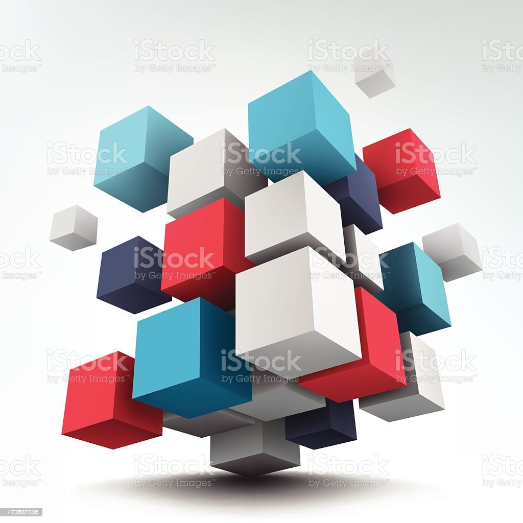 Composition with 3d cubes vector art illustration