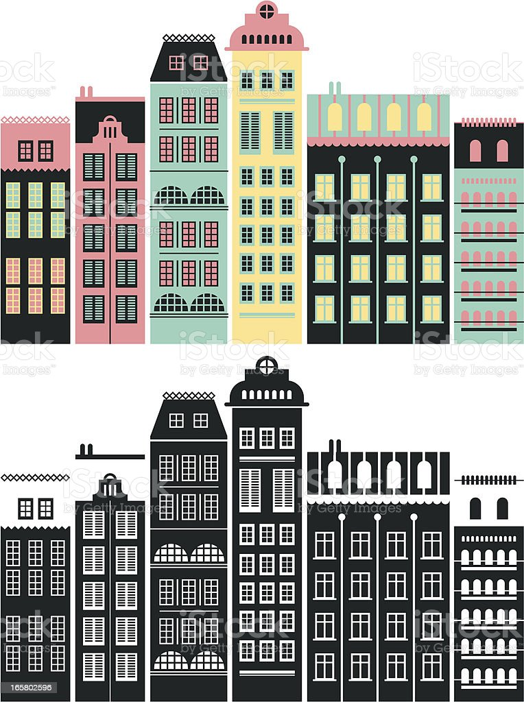 Composition with buildings vector art illustration