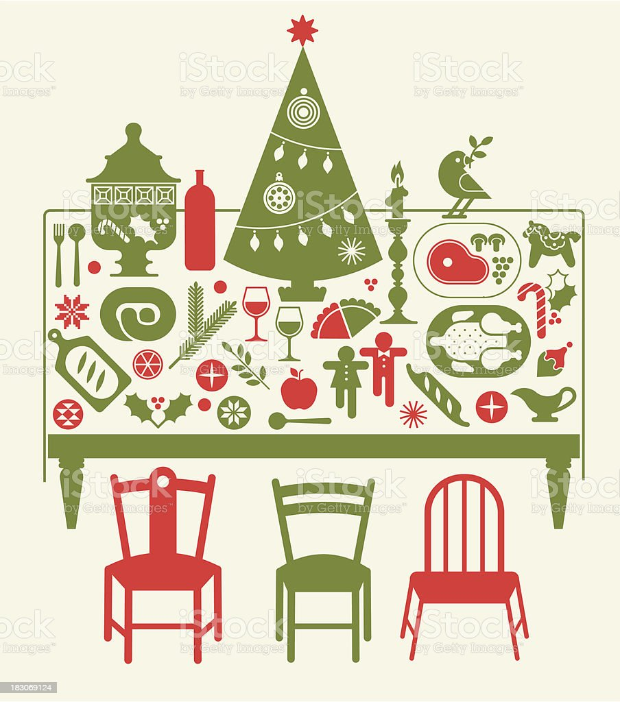 Composition with Christmas dinner vector art illustration