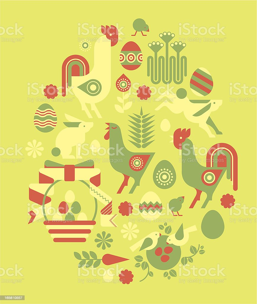 Composition with Easter silhouettse royalty-free stock vector art