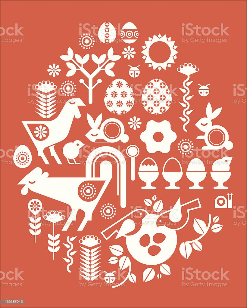 Composition with Easter silhouettse vector art illustration